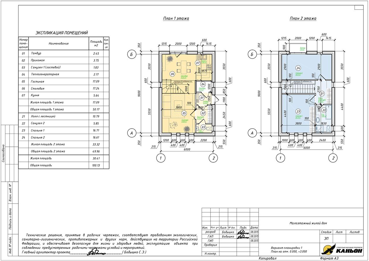 Проект индивидуального жилого дома из ЖБИ вариант 1